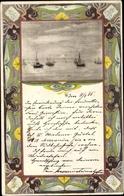 Art Nouveau Cp Segelboote Auf Dem Wasser - Cartes Postales