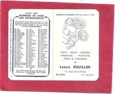 """CALENDRIER PUBLICITAIRE """" LAZARE BOUILLER 15 Place SAINT-MICHEL - DIJON De 1968 . 2 SCANES - Calendriers"""