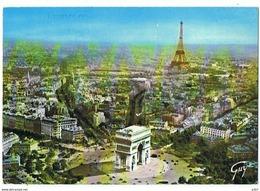 CPM..75..EN AVION SUR PARIS..ARC DE TRIOMPHE..TOUR EIFFEL - France
