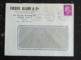 NIORT R.P. - DEUX SEVRES - FLAMME RECENSEMENT GENERAL POPULATION 1968 - ENTETE FOSSIER ALLARD & Cie PARIS XXe - Marcophilie (Lettres)