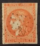 N° 48 A 40 Ct Orange Vif Oblitéré ANCRE COTE 200 €, Oblitération Rare Sur L'émission De Bordeaux. - 1870 Emission De Bordeaux