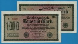 DEUTSCHES REICH 2 X 1000 Mark Code MK15.09.1922# Yb 212275+76  P# 76g - [ 3] 1918-1933 : Weimar Republic