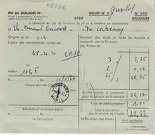 Pli De Douane Pour Colis Postal D'Allemagne à L'arrivée / Timbres Taxe Non Oblitérés - Colis Postaux