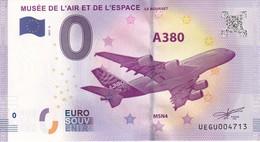 .. BILLET 2017 - 2 ... MUSEE DE L'AIR ET DE L'ESPACE .. UEGU004713 .. AIRBUS A380 ... AVION ... - Altri