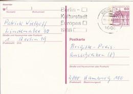 Berlin - Ganzsache Postkarte Burgen Und Schlösser 60 Pf.  - Werbestempel Kulturhauptstadt Europas 1988 (49206) - [5] Berlin