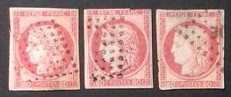 """N° 21 (x3) 80 Ct Rose COTE 555 € OBLITERES LOSANGES DE POINTS OU """"MQE"""" (MARTINIQUE) - Cérès"""