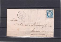 BEHOBIE  ( BASSES PYRENEES ) GC 416 + 60 A  Pour  TOULOUSE   18 AOUT 1874 - REF 13712 + Variété - Postmark Collection (Covers)