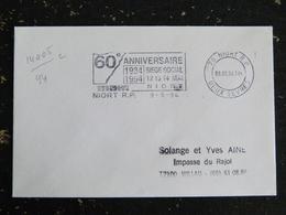 NIORT R.P. - DEUX SEVRES - FLAMME DOUBLE CERCLE 60e ANNIVERSAIRE SIEGE SOCIAL MAIF 1994 - Marcophilie (Lettres)