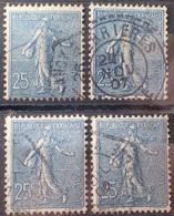 R1537/146 - 1903 - TYPE SEMEUSE LIGNEE - N°132 à 132a ☉ - Francia