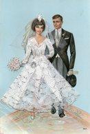 Carte Brodée Représentant Deux Jeunes Mariés - Brodées