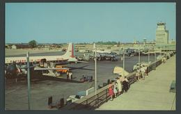 OH CLEVELAND HOPKINS AIRPORT Eastern Airlines DC 7 Loading Postcard 1956 Control Tower - Altri