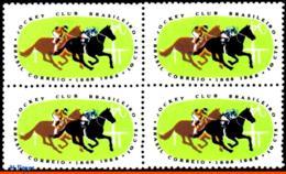 Ref. BR-1086-Q BRAZIL 1968 - CENT. JOCKEY CLUB,, HORSE RACE, BLOCK MNH, ANIMALS, FAUNA 4V Sc# 1086 - Ippica
