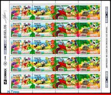 Ref. BR-2373A-FO BRAZIL 1992 COMICS, ECOLOGY, FLOWERS, BIRDS,, BUTTERFLY,FLORA,MI# 2479-82,SHEET MNH 20V Sc# 2370-2373 - Nuovi