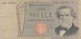 BANCA D'ITALIA . 1.000 LIRE . G. VERDI . N° QD 449441 F . 2 SCANES - [ 2] 1946-… : République