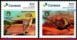 Ref. BR-V2019-64 BRAZIL 2019 PREHISTORIC ANIMALS, DINOSAURS IN CRUZEIRO, DO OESTE - PR, PERSONALIZED MNH 2V - Preistorici