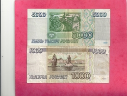 2 BANK NOTES - RUSSIE . 1.000 & 5.000 RUBLES . 1995  . 2 SCANES - Russie