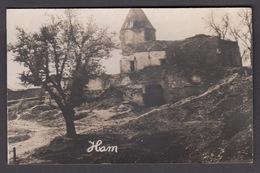 CPA 80 -  HAM,  Ruines De Guerre 1914-18 Bombardement,   Carte Photo. - Ham
