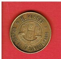 FRANCE MONNAIE DE NECESSITE H. PUSSEY 20 RUE DE LA BANQUE A PARIS MAGASIN JEUX JOUETS CARTES 10 CENTIMES - Monétaires / De Nécessité