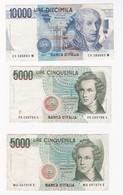 Italie 5 Billets 10000 , 5000 Et 2000 Lire ,billets Ayant Circulés - [ 2] 1946-… : Repubblica