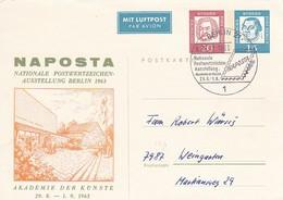 AK Berlin - Ganzsache Postkarte Bedeutende Deutsche 10 Und 15 Pf. - Schmuckkarte Und Sonderstempel Naposta 1963 (49222) - Cartes Postales Privées - Oblitérées