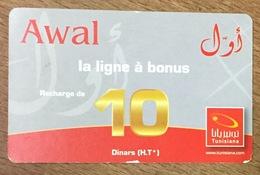 TUNISIE AWAL TUNISIANA 10 DINARS RECHARGE GSM PRÉPAYÉE PHONECARD CARD PAS UNE TÉLÉCARTE - Tunesien