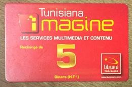 TUNISIE TUNISIANA IMAGINE 5 DINARS RECHARGE GSM PRÉPAYÉE PHONECARD CARD PAS UNE TÉLÉCARTE - Tunesien