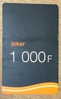 CAMEROUN ORANGE JOKER RECHARGE GSM 1.000 FCFA PAS TELECARTE CARTE TÉLÉPHONIQUE PRÉPAYÉE - Kameroen