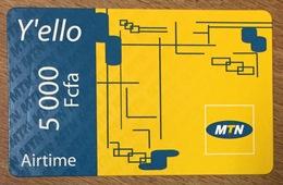 CAMEROUN MTN AIRTIME Y'ELLO RECHARGE GSM 5.000 FCFA PAS TELECARTE CARTE TÉLÉPHONIQUE PRÉPAYÉE - Camerún