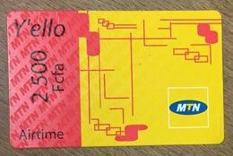 CAMEROUN MTN AIRTIME Y'ELLO RECHARGE GSM 2.500 FCFA PAS TELECARTE CARTE TÉLÉPHONIQUE PRÉPAYÉE - Camerún