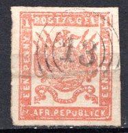 TRANSVAAL - (1ère République Indépendante) - 1870-73 - N° 9 - 1 P. Carmin - (Armoiries) - Sud Africa (...-1961)