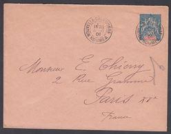 1901. NLLE CALACONIE ET DEPENDANCES. Envelope 140 X 107 Mm. 25 C. Blue.  NOUMEA NELLE... () - JF322117 - Nouvelle-Calédonie