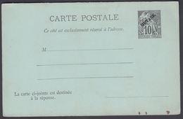 1892. GUYANE. CARTE POSTALE COLONIES POSTES REPUBLIQUE FRANCAISE. Double. 10 C. + 10 ... () - JF322152 - Guyane Française (1886-1949)
