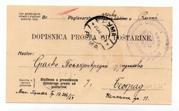 1929 KINGDOM OF SHS,SERBIA,RUMA TO BELGRADE,SREM REGIONAL OFFICE,FREE OF POSTAGE,USED POSTCARD - Yugoslavia
