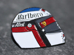 "Pin's ""Casque De Jean Alesi"" Ferrari - Formule 1 - Formula One - Car Racing - F1"