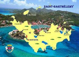 Saint Barthelemy Island Map New Postcard Insel Landkarte AK - Antilles