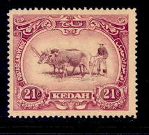 ! ! Kedah - 1912 Native Plowing 21c - Scott 12 - MH (Z022) - Kedah