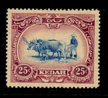 ! ! Kedah - 1912 Native Plowing 25c - Scott 13 - MH (Z023) - Kedah
