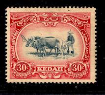 ! ! Kedah - 1912 Native Plowing 30c - Scott 14 - MH (Z024) - Kedah