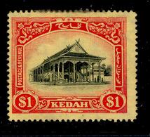 ! ! Kedah - 1912 Council Chamber $1 - Scott 17 - MH (Z025) - Kedah