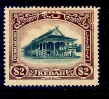 ! ! Kedah - 1912 Council Chamber $2 - Scott 18 - No Gum (Z026) - Kedah