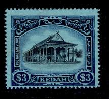 ! ! Kedah - 1912 Council Chamber $3 - Scott 19 - MH (Z027) - Kedah