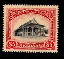 ! ! Kedah - 1912 Council Chamber $5 - Scott 20 - MH (Z028) - Kedah