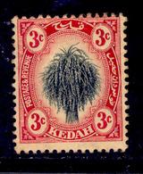 ! ! Kedah - 1912 Sheat Of Rice 3c - Scott 04 - MH (Z029) - Kedah