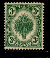 ! ! Kedah - 1921 Sheat Of Rice 3c - Scott 27 - MH (Z033) - Kedah