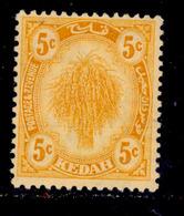 ! ! Kedah - 1921 Sheat Of Rice 5c - Scott 30 - MH (Z036) - Kedah