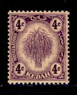 ! ! Kedah - 1921 Sheat Of Rice 4c - Scott 29 - MH (Z038) - Kedah