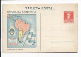 Argentinien P 49 ** -  10 Ctv  San Martin - Klappkarte Mit Südamerika-Landkarte, Innen Statistikdaten 1932-38 - Interi Postali