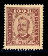 ! ! Ponta Delgada - 1892 D. Carlos 100 R (Perf 12 3/4) - Af. 09 - No Gum - Ponta Delgada