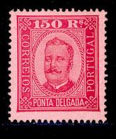 ! ! Ponta Delgada - 1892 D. Carlos 150 R (Perf. 13 1/2) - Af. 10 - MH - Ponta Delgada