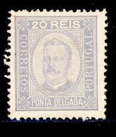 ! ! Ponta Delgada - 1892 D. Carlos 20 R (Perf. 12 3/4) - Af. 04 - MH - Ponta Delgada